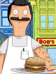 A picture of the character Bob from the show Bob's Burgers. Bob is facing forward with his signature mustache, apron, and pen in the apron pocket. He is holding out a burger on a plate.