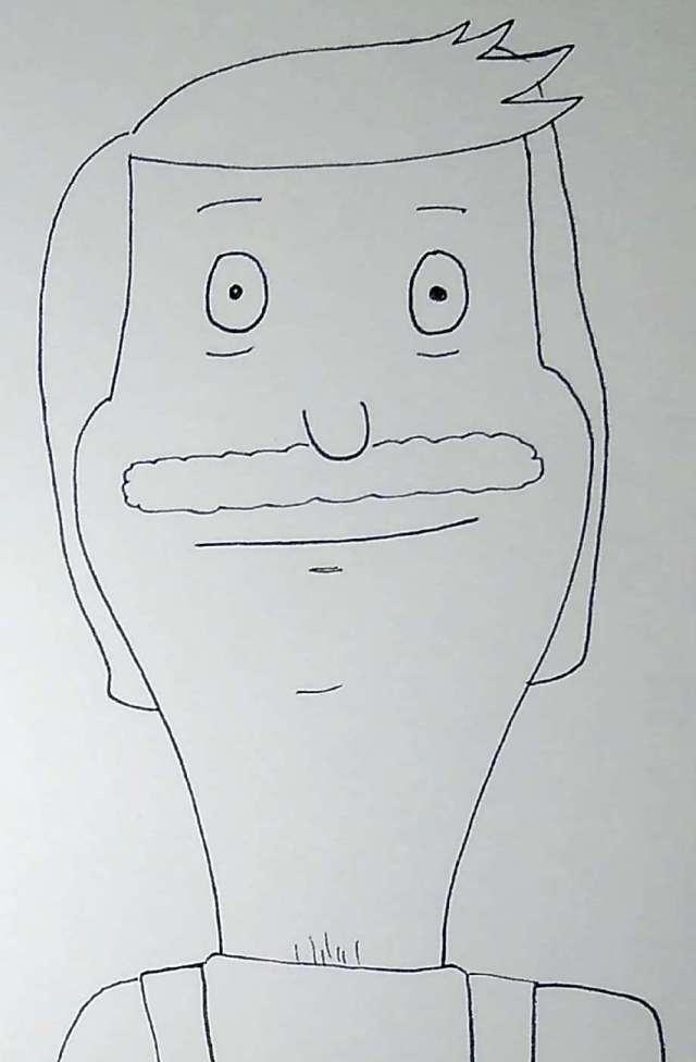 A sketch I drew of Bob from Bob's burger in pen. No color.