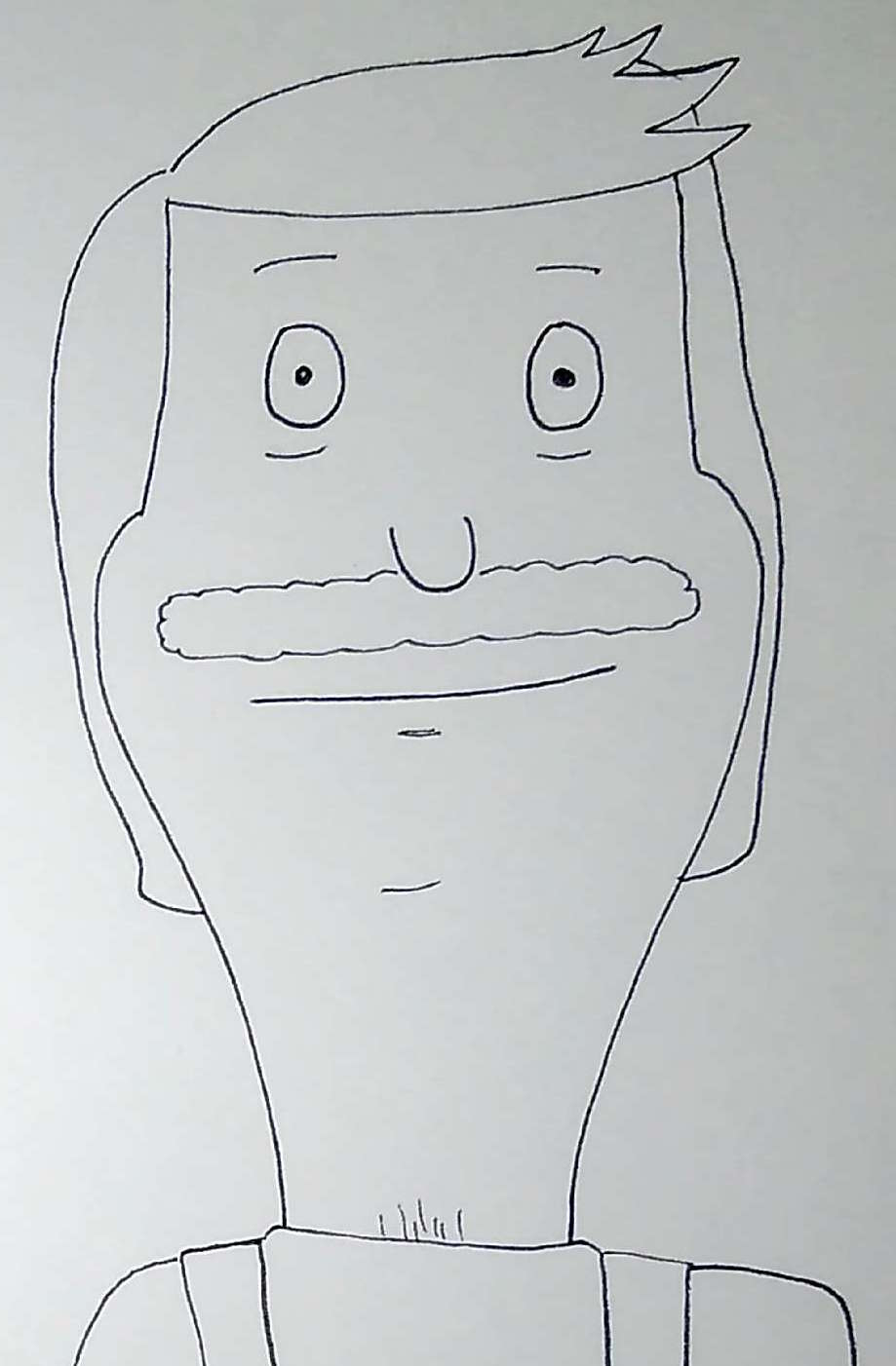 A sketch I drew of Bob from Bob's burger in pen. No color.